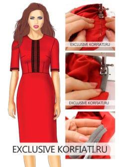Dress-with-sleeves-рукав с подокатником