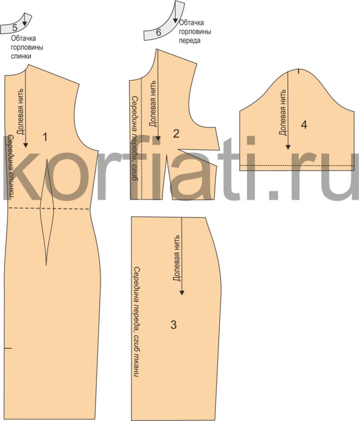 Выкройка платья с короткими рукавами - детали