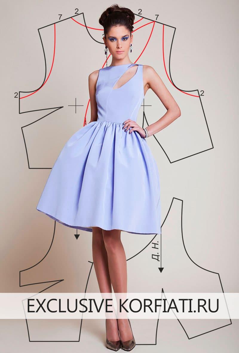 Выкройка голубого платья