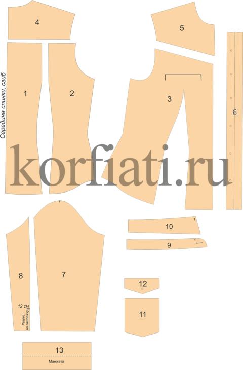 Выкройка приталенной рубашки