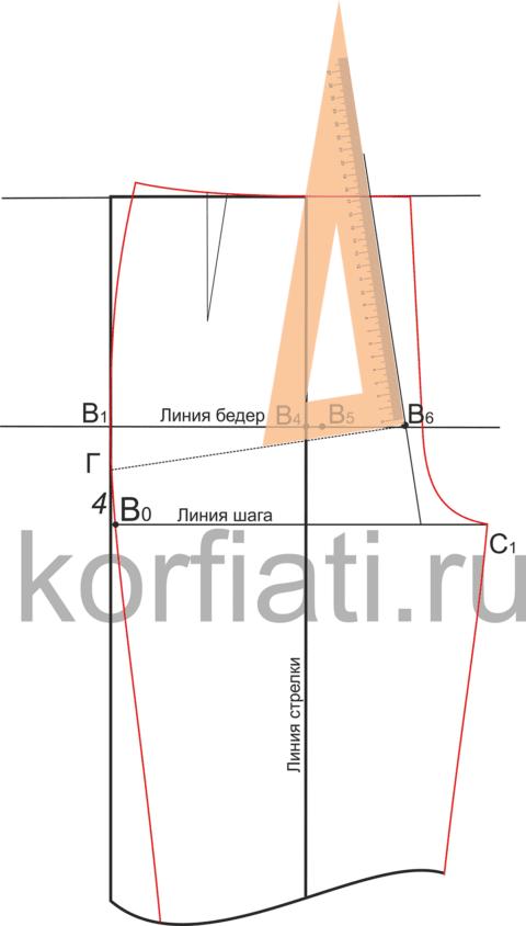 Шаг пятый. Построение перпендикуляра к отрезку ГВ6 на выкройке брюк.