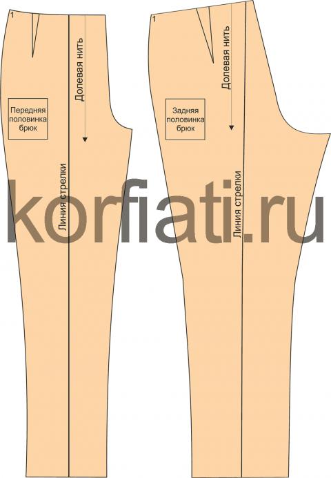 Пошаговое построение выкройка женских брюк