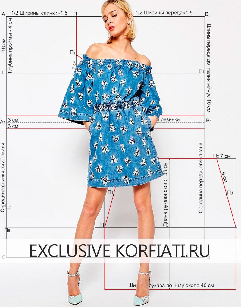 Модель выкройки джинсового платья
