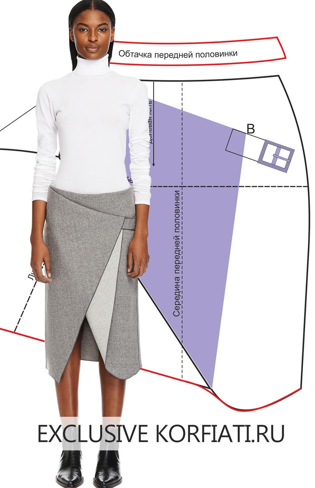 Выкройка оригинальной юбки своими руками 43
