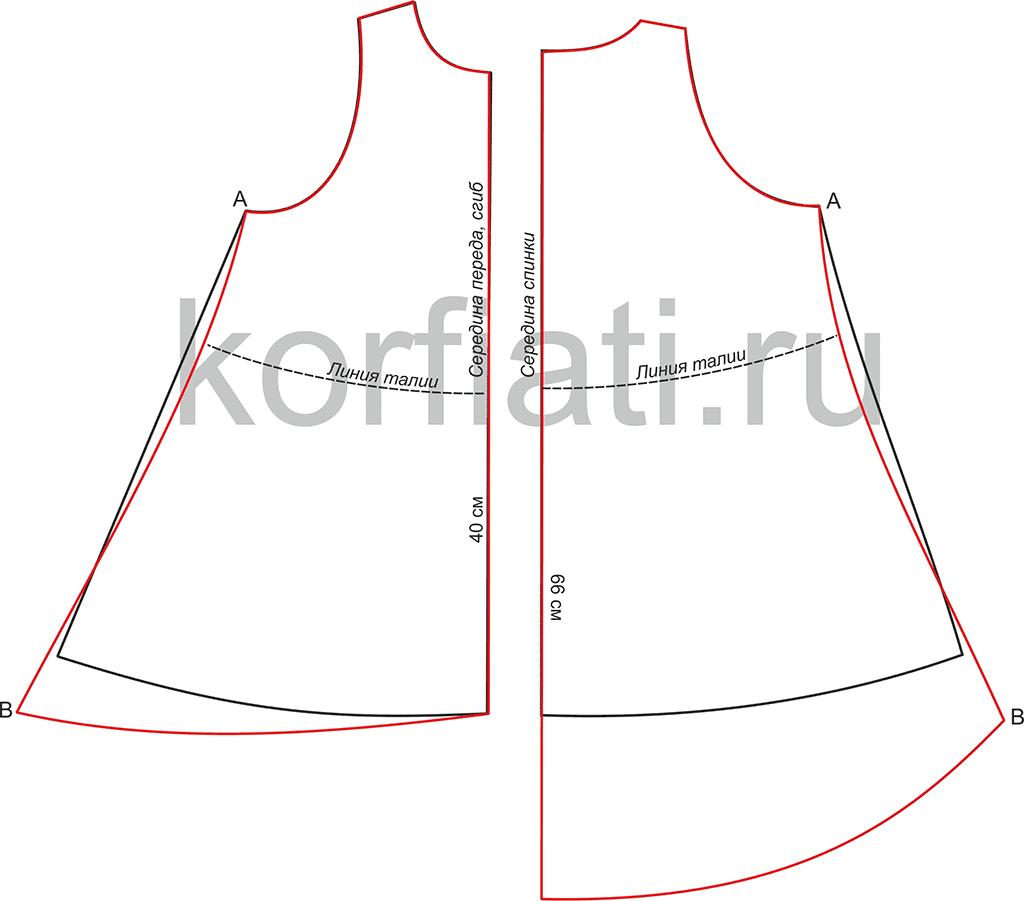 Выкройка платья с неровным подолом