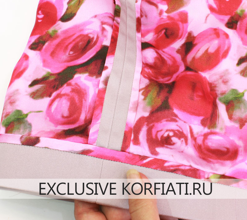 Обработка юбки подкладкой - подгиб низа