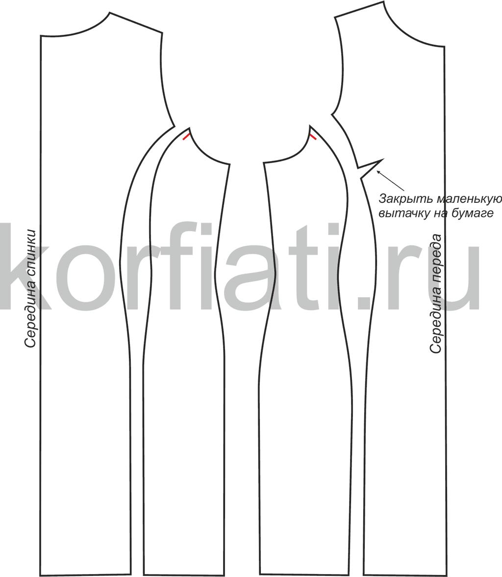 Выкройка платьица с рельефами размер 60