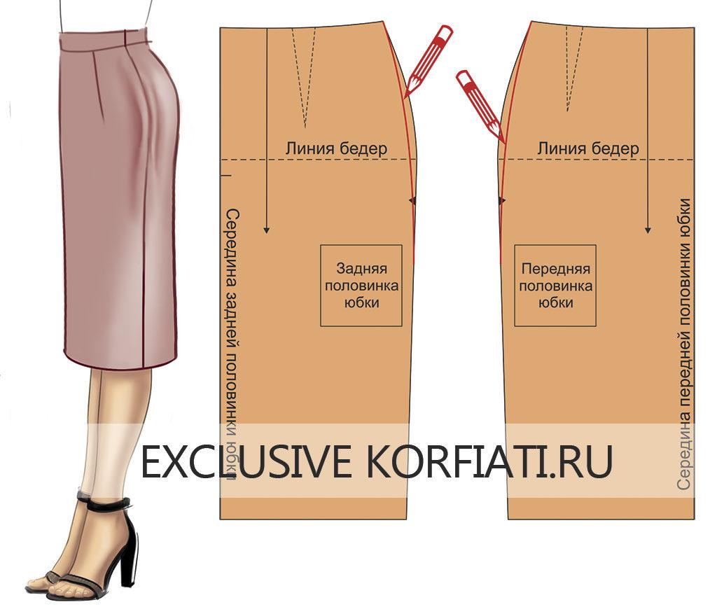Исправление дефектов юбок (чертеж) - Заломы в верхней части боковых швов