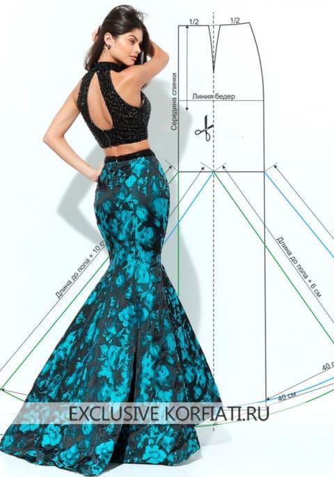 Выкройка длинной юбки годе