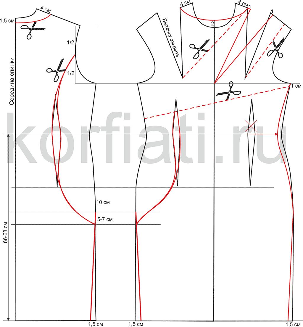 Выкройка платья сложного кроя