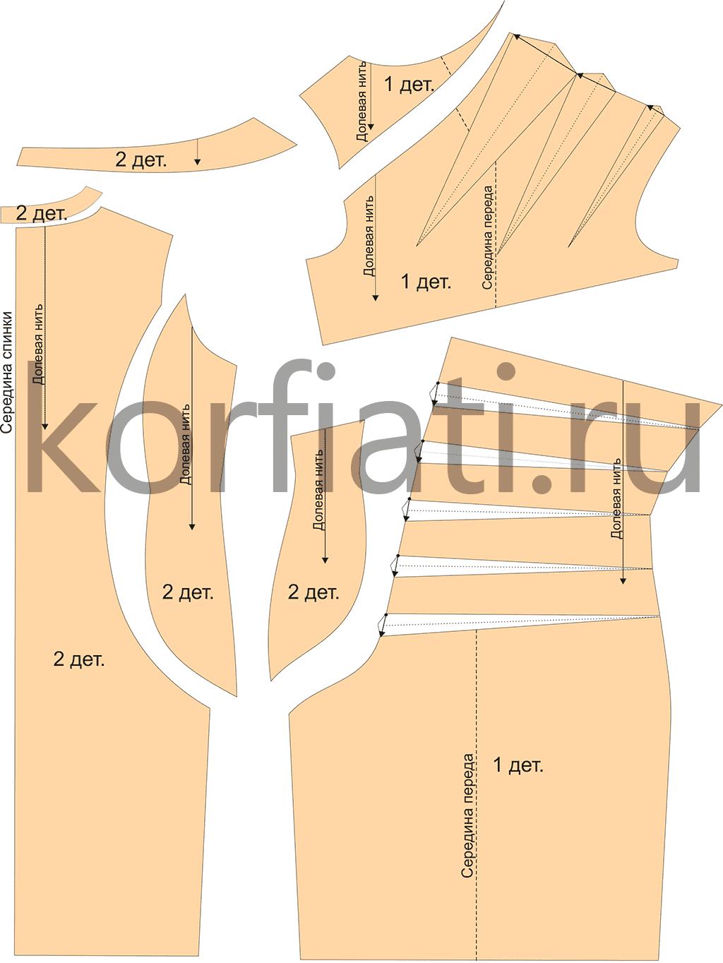 Выкройка платья сложного кроя - детали
