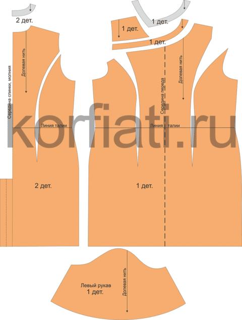 Выкройка платья для полных женщин - детали кроя