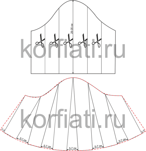 Выкройка платья для полных женщин - левый рукав
