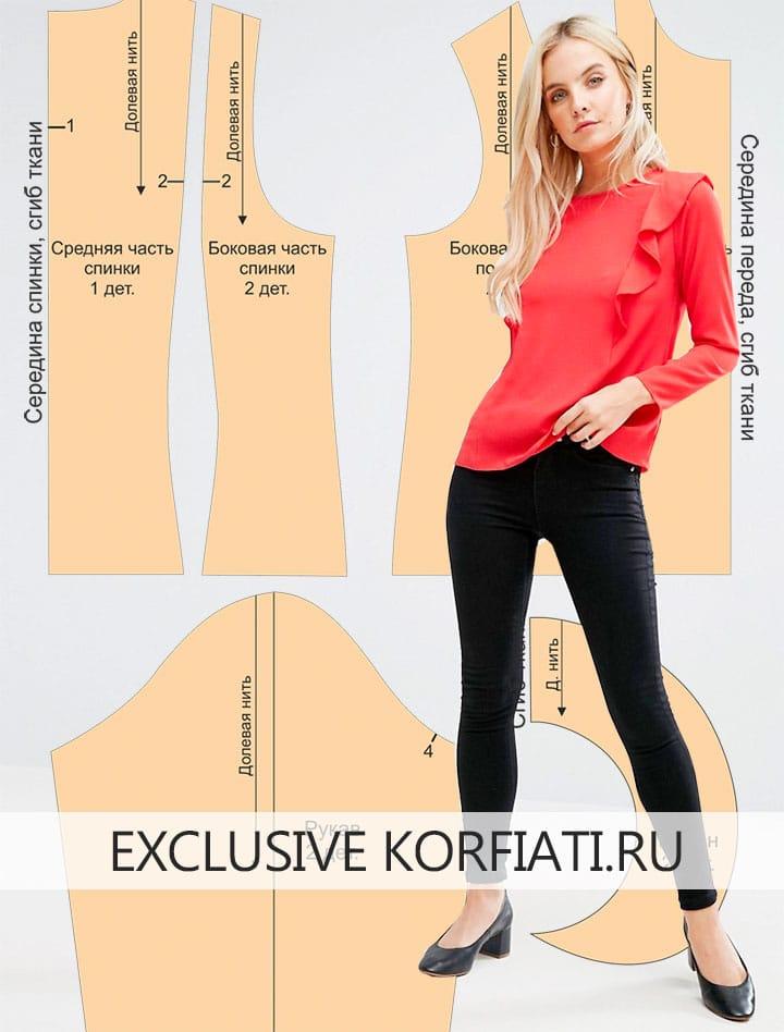 Выкройка блузки с воланом