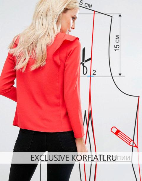 Выкройка блузки с воланами - спинка