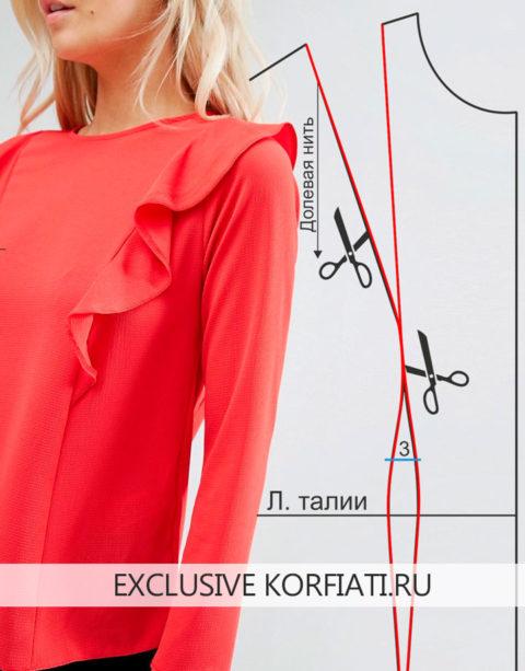 Выкройка блузки с воланами - перед