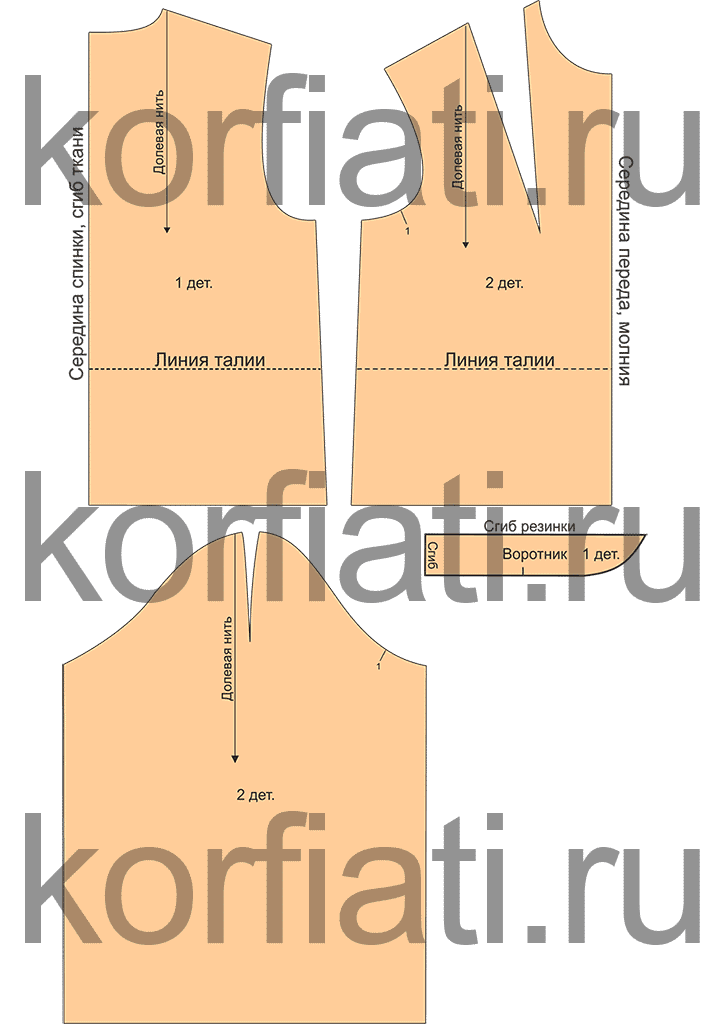 Выкройка короткой шубки бомбера - детали