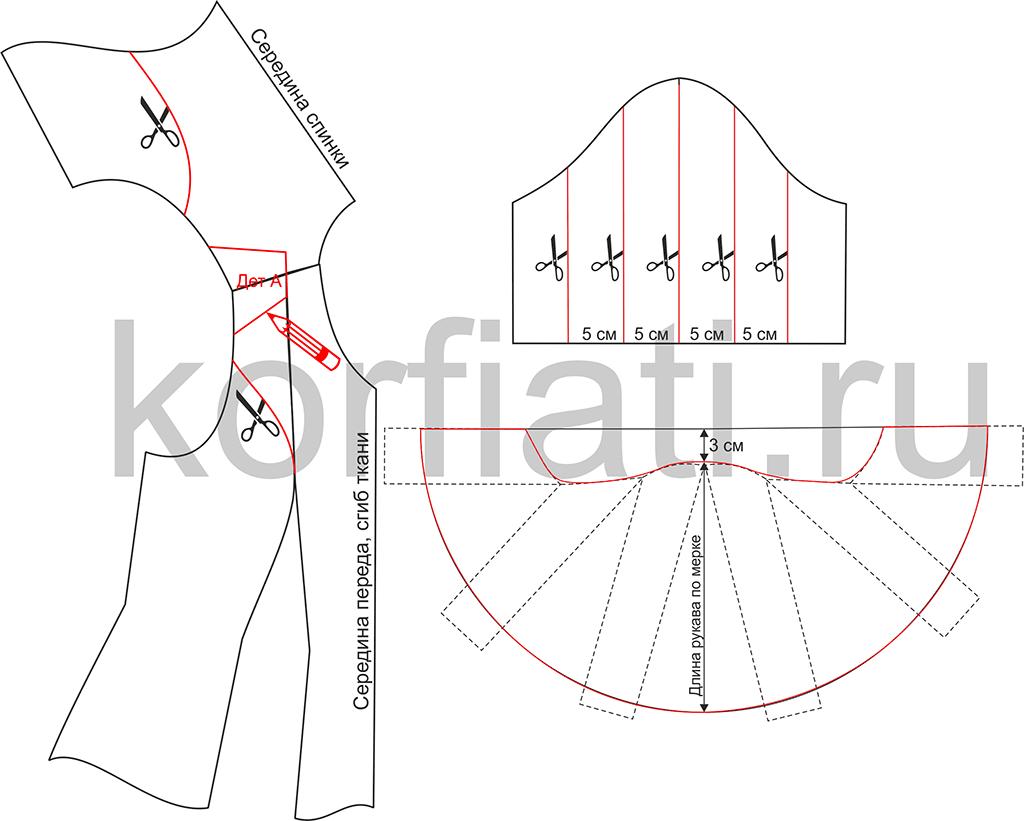 Выкройка рукава-полусолнце