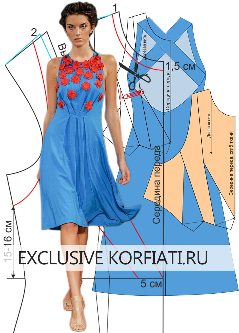 Выкройка платья с аппликацией