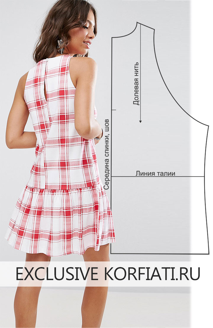 Выкройка платья с воланами по низу