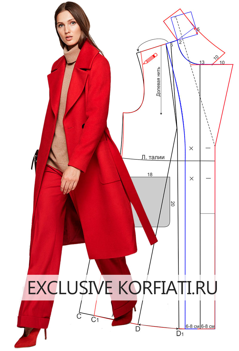 Выкройка пальто с большим воротником