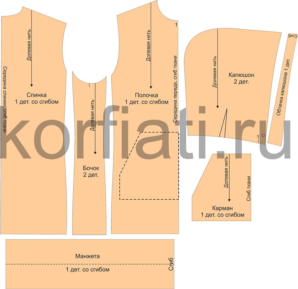 Детали кроя платья худи