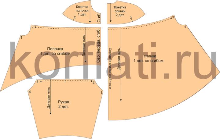Детали кроя блузки с рукавами