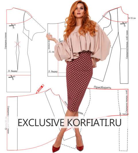 Выкройка блузки с рукавами