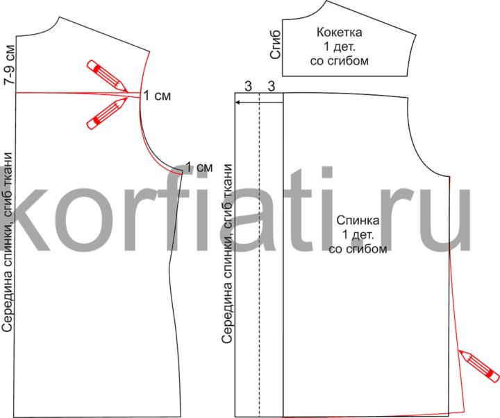 Выкройка блузки с воротником-бантом - моделирование спинки
