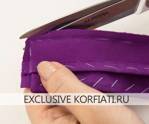 Обработка воротника с драпировкой галстук