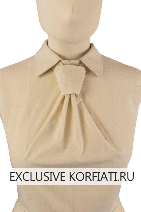 Макет лифа с цельнокроеным галстуком - вид спереди