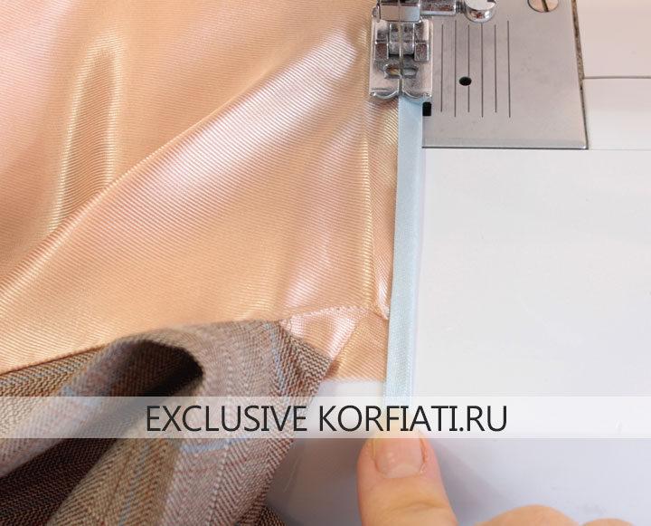 Юбка с воланом - окантовка припуска подкладки бейкой