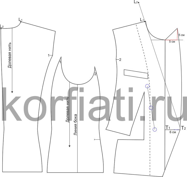 Выкройка двубортного жакета - моделирование лацкана