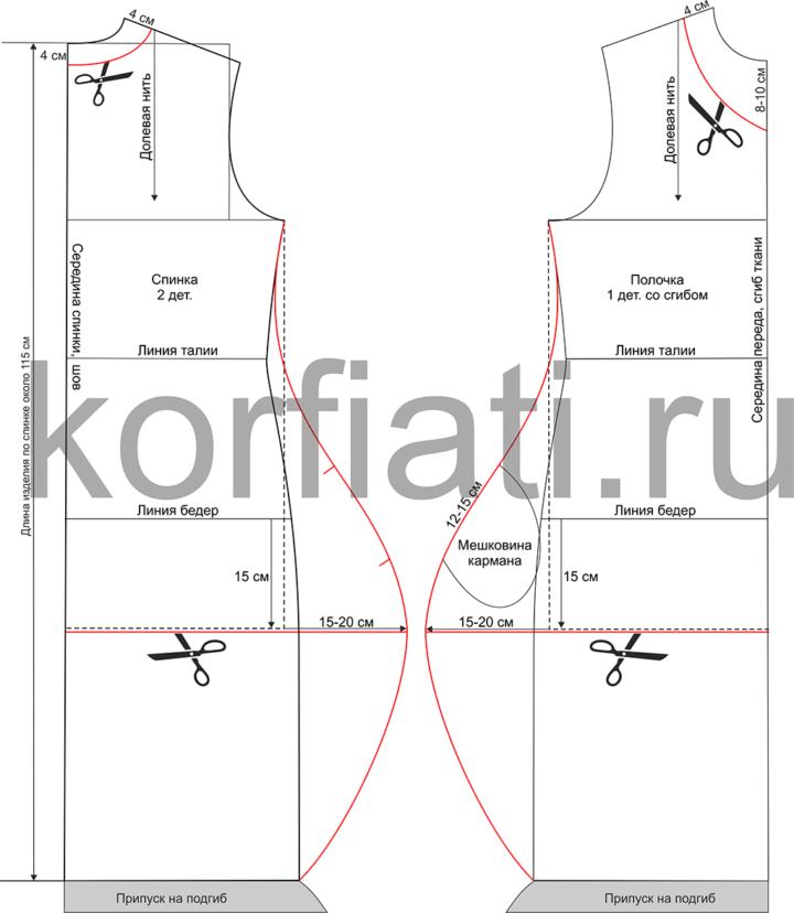 Моделирование выкройки спинки и полочки платья-баллон