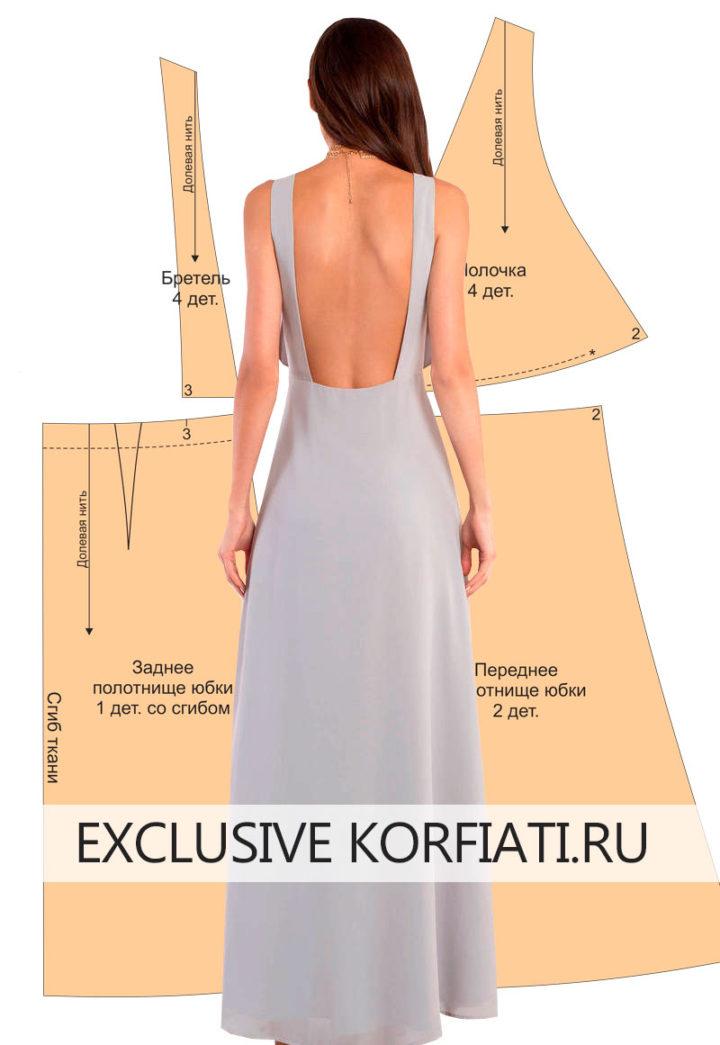 Выкройка платья с V-образным вырезом - спинка