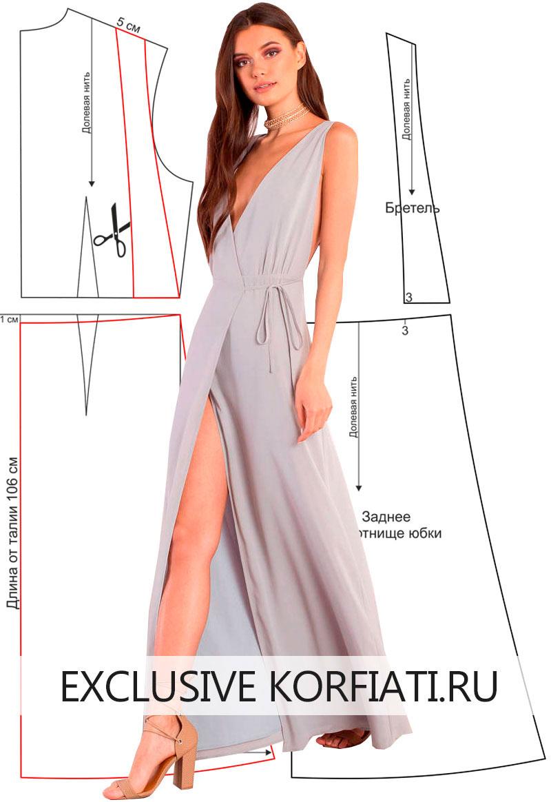 Выкройка длинное облегающее платье