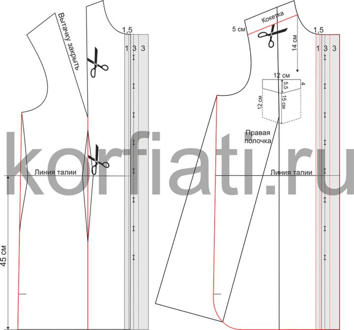 Моделирование полочки платья-рубашки - чертеж
