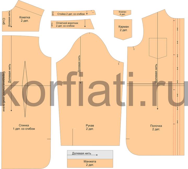 Как выкроить платье-рубашку - детали кроя