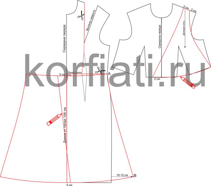 Выкройка платья с V-образным вырезом - моделирование переда