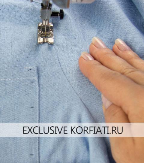 Как сшить платье-рубашку - фото отделочной строчки