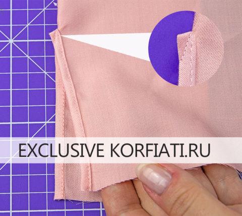 Выкройка приталенной блузки с вытачками - обработка разреза