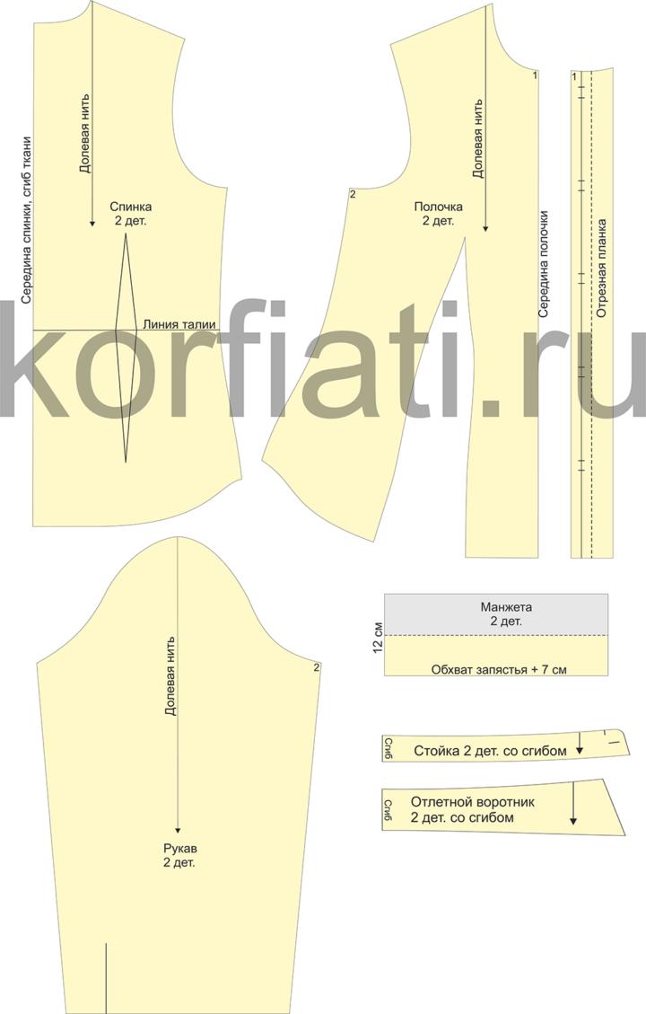 Рис. 4. Выкройка приталенной блузки с вытачками - детали кроя