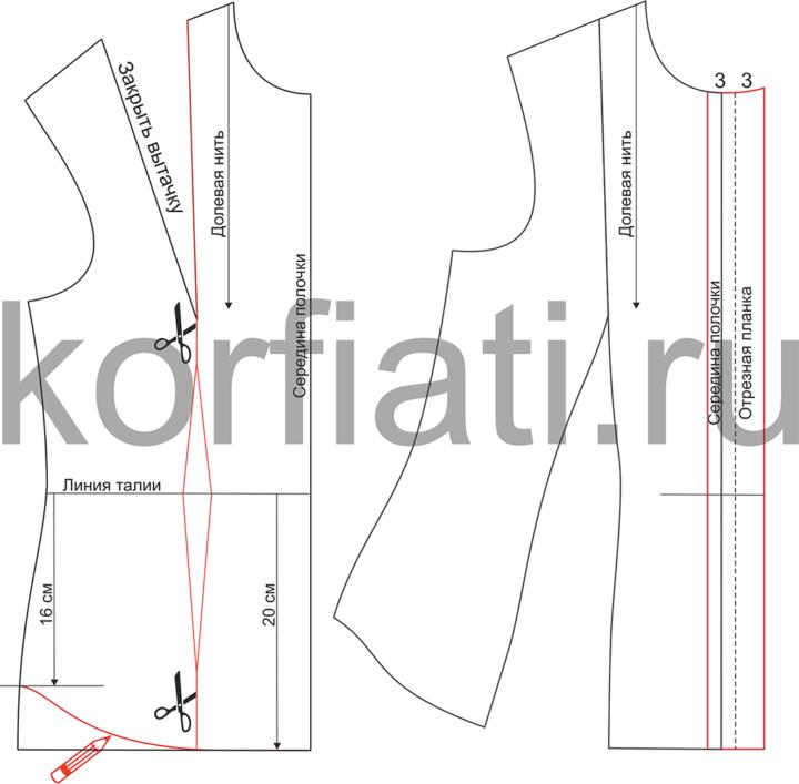 Выкройка приталенной блузки с вытачками - моделирование полочки