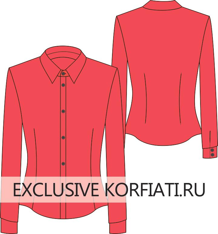 Эскиз приталенной блузки с вытачками