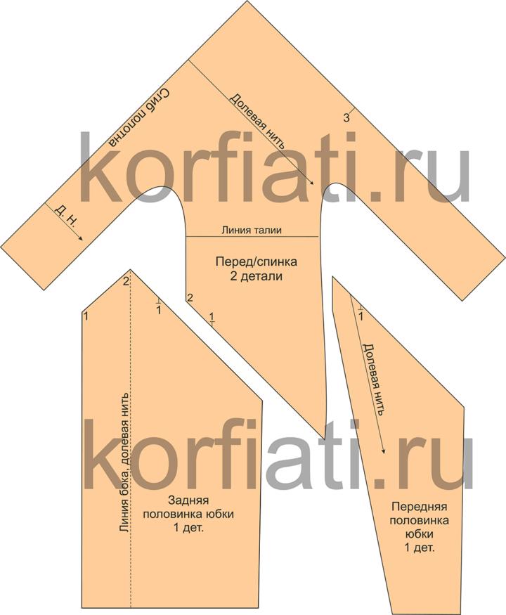 Детали кроя платья без выкройки