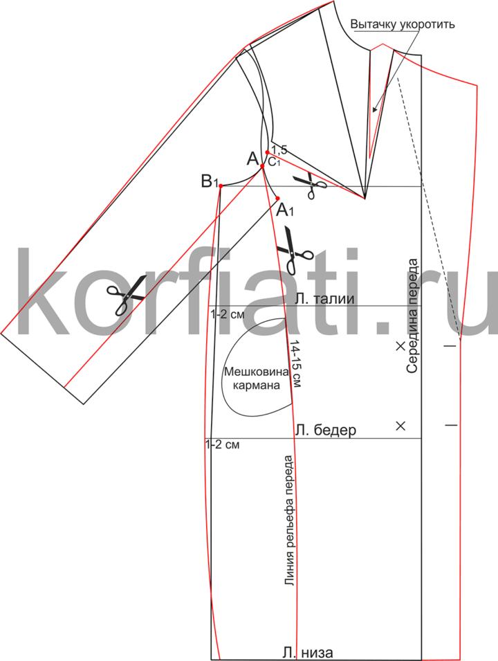 Перевод нагрудной вытачки к линии горловины пальто