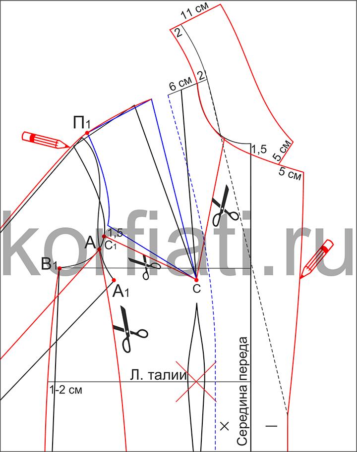 Выкройка пальто с цельнокроеными рукавами - моделирование воротника