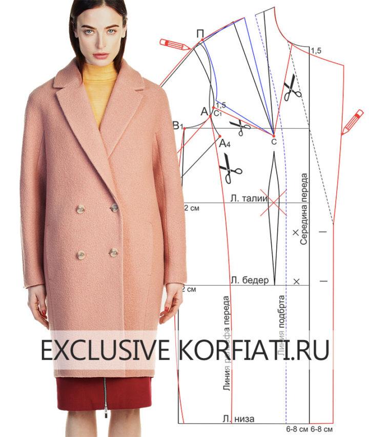 Выкройка пальто-кокон с цельнокроеным рукавомм