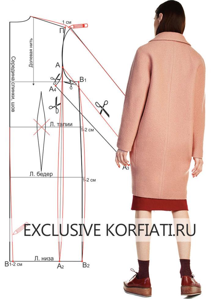 Выкройка пальто с цельнокроеными рукавами - фото спинка
