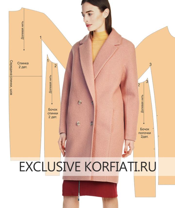 Выкройка пальто с цельнокроеными рукавами - фото
